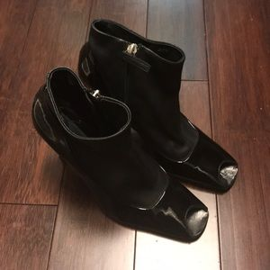 Giuseppe patent leather bootie with leather sock